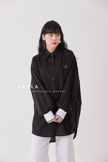 LAYLA-- 女士寬松系扣簡潔襯衣不含其它&