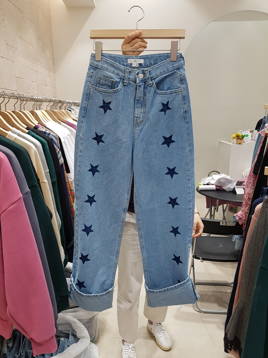 YULL-- 女士插袋五角星休閑牛仔褲