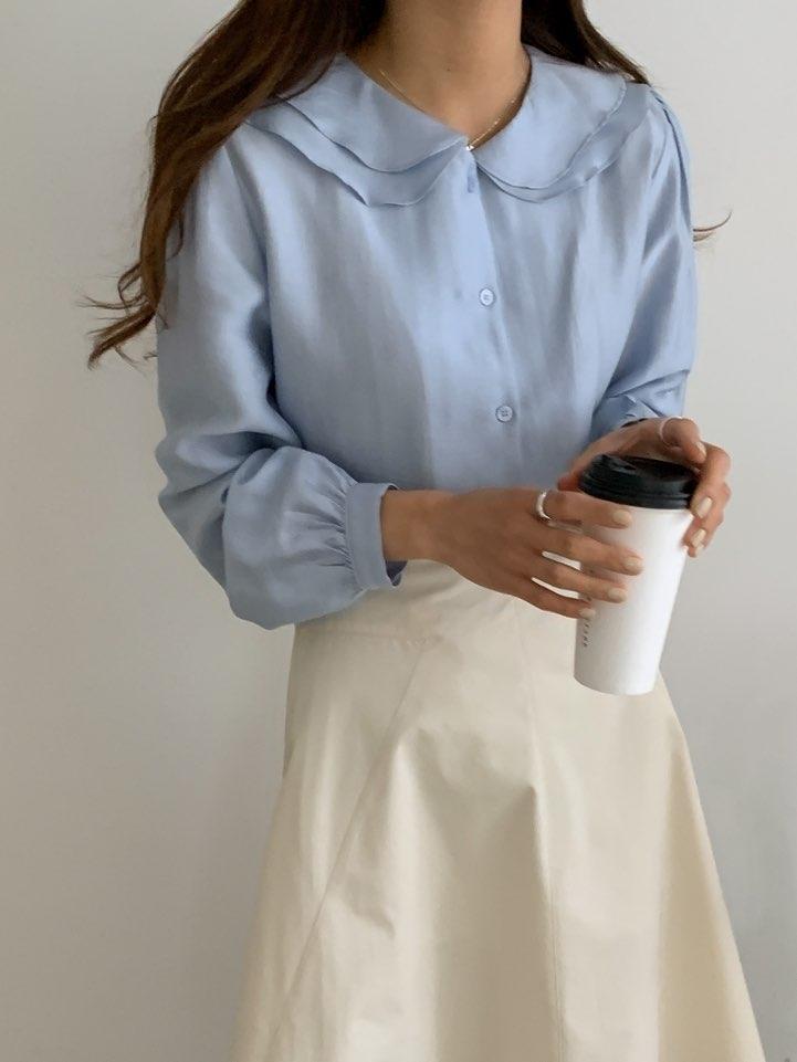 villabutton-- 女士娃娃領簡潔長袖襯衣不含其它&