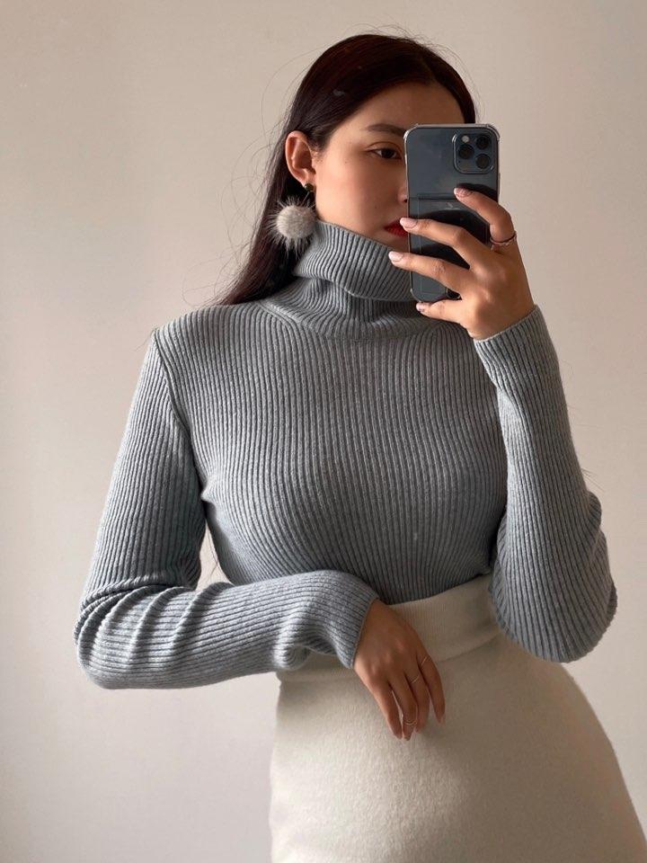 ailla-- 女士簡潔凈版長袖針織衫不含其它&