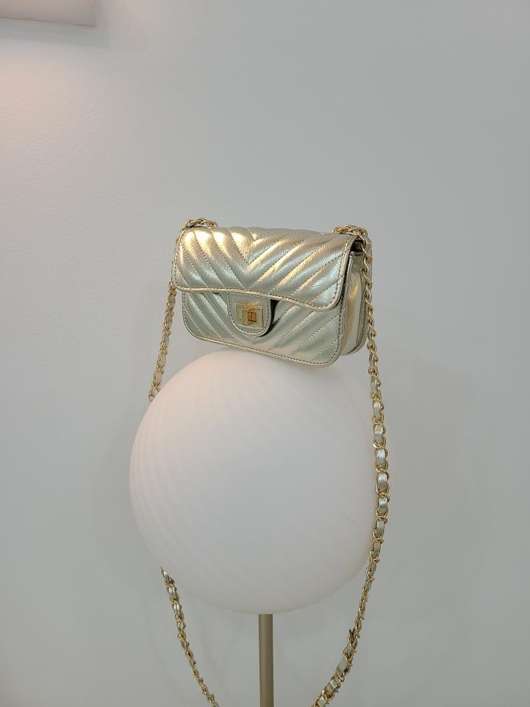 ROOTY-AP-- 女士翻蓋金屬鏈氣質單肩包&