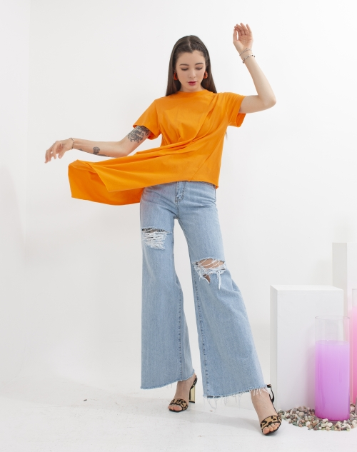CHEAP CHIC-- 女士破洞束腰休閑牛仔褲不含其它&