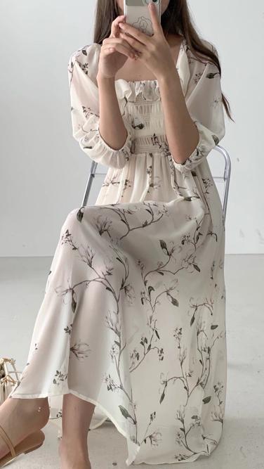 ABITO-- 女士氣質長袖印花連衣裙不含其它&