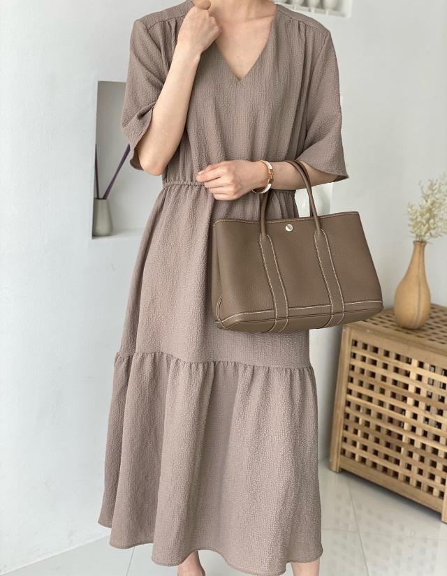 VANE-- 女士短袖簡潔V領連衣裙不含其它&