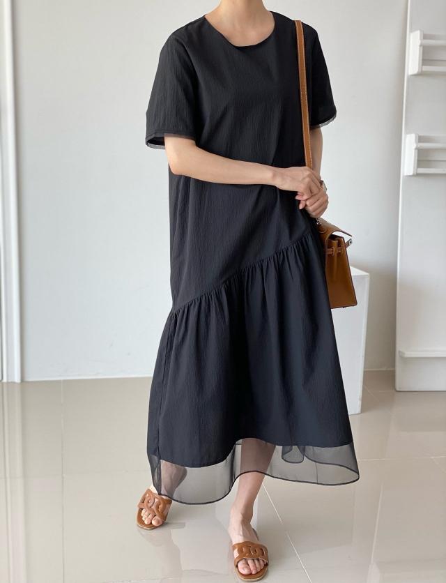 VANE-- 女士寬松圓領短袖連衣裙不含其它&