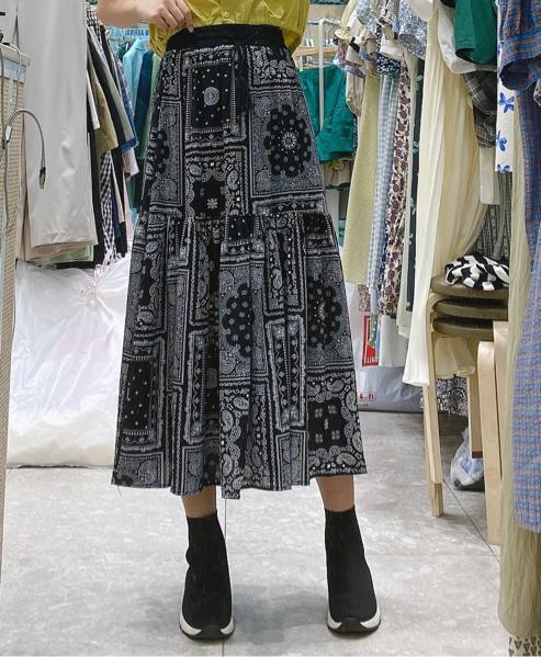 Adorable-U-- 女士束腰印花氣質迷笛裙不含其它&