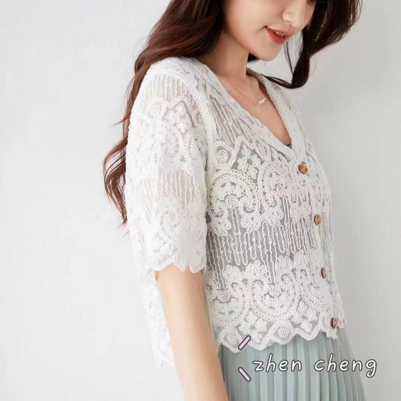 ABITO-- 女士V領短袖休閑針織衫不含其它&