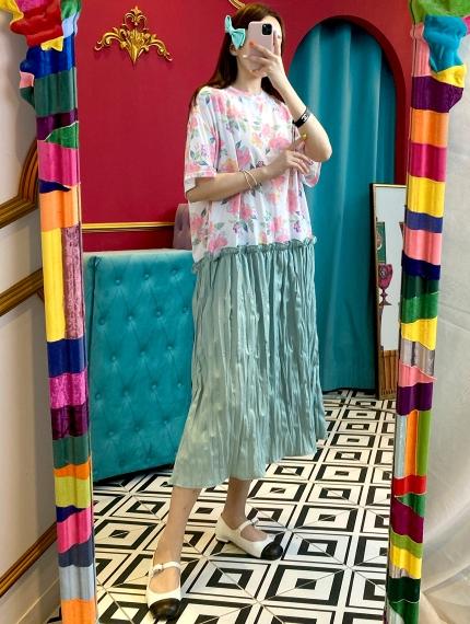 GOOMUNGGAGE-- 女士拼接短袖休閑連衣裙&