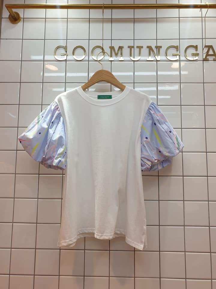 GOOMUNGGAGE-- 女士拼接短袖百搭T卹衫&