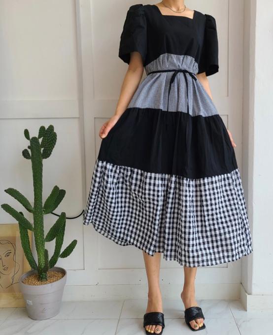 Jaime-- 女士短袖拼接時尚連衣裙
