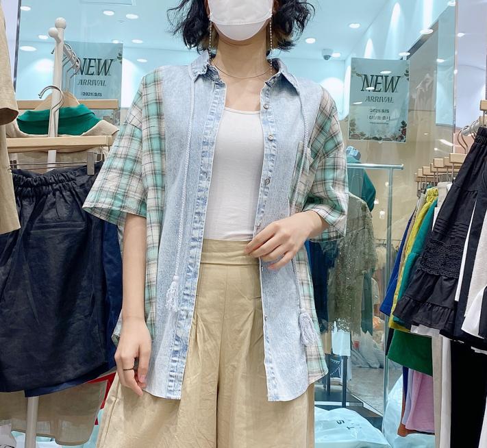 Adorable-U-- 女士短袖百搭休閑襯衣不含其它&