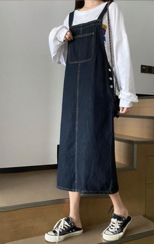 HA EUN-- 女士無袖百搭牛仔連衣裙不含其它&