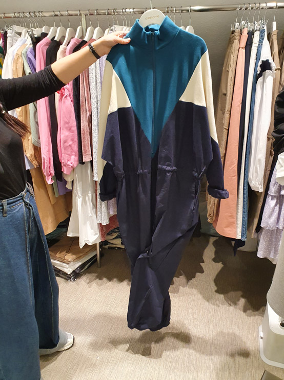 awesome-L-- 女士拼色休閑拉鏈連體褲