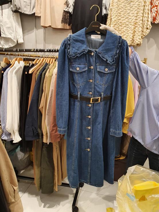 BIKINI-- 女士牛仔長袖修身連衣裙不含其它