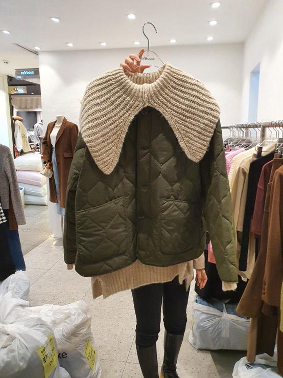 EnVogue-- 女士貼袋休閑簡潔棉衣不含其它