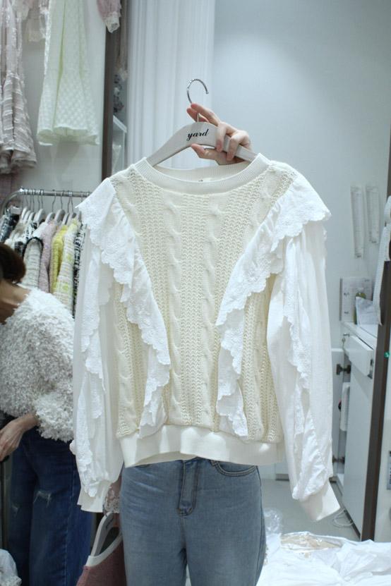 YARD-- 女士扭花圓領花邊運動衫