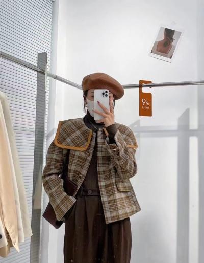 ABITO-- 女士時尚格子長袖外套不含其它&