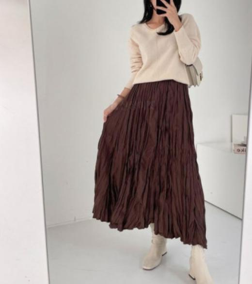 HA EUN-- 女士休閑褶襉百搭超長裙不含其它&