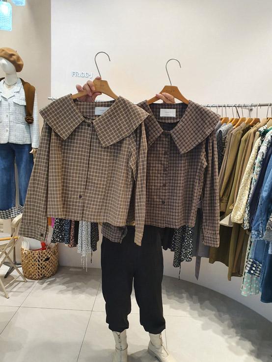 FRIGG J-U-- 女士時尚格子翻領襯衣