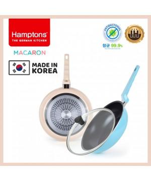 【韓國製】德國Hamptons馬卡龍一套3件套裝H09 (28cm平底鍋+28cm高身平底炒鍋+28cm蓋)(現貨)