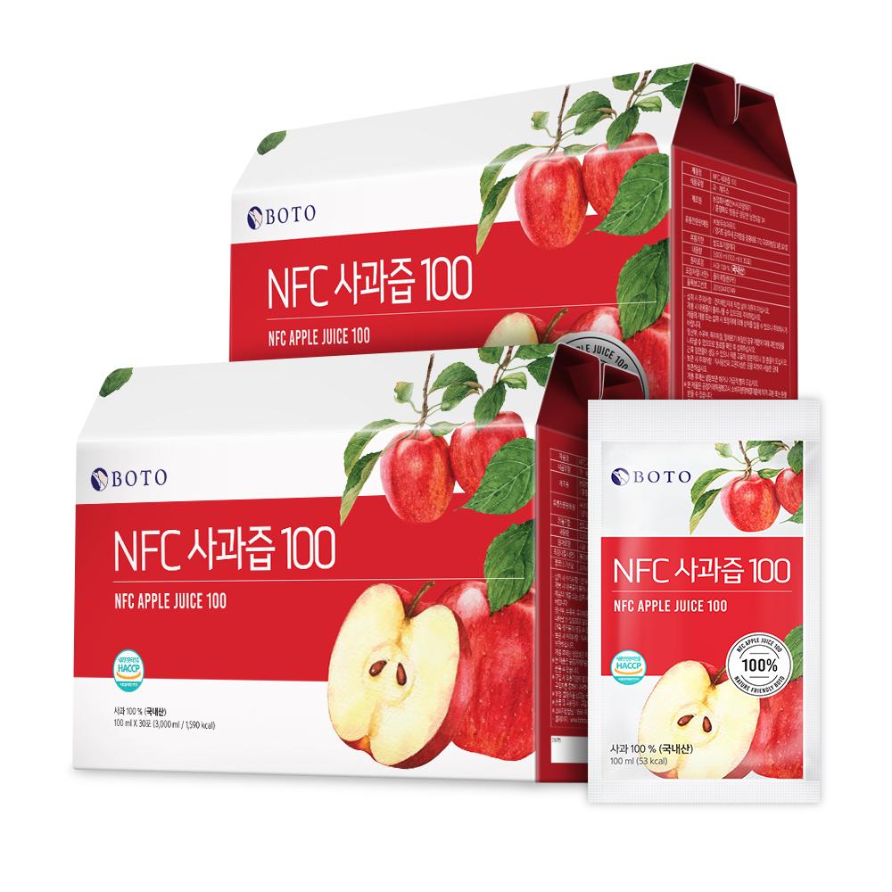 韓國 BOTO 100%蘋果汁 100ml*30包 (禮盒裝)
